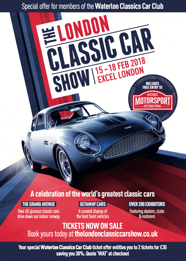 See us at our stand at the London Classic Car Show 2018 | Waterloo ...